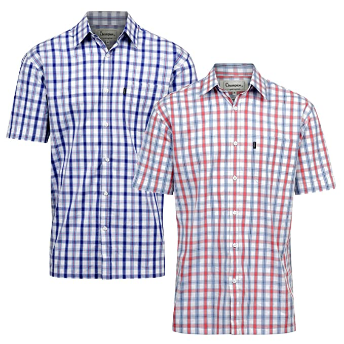 Fenside Country Clothing - Camisa Casual - para Hombre Blue Check   Coral  Check XXXXX- 1f32fcf597f