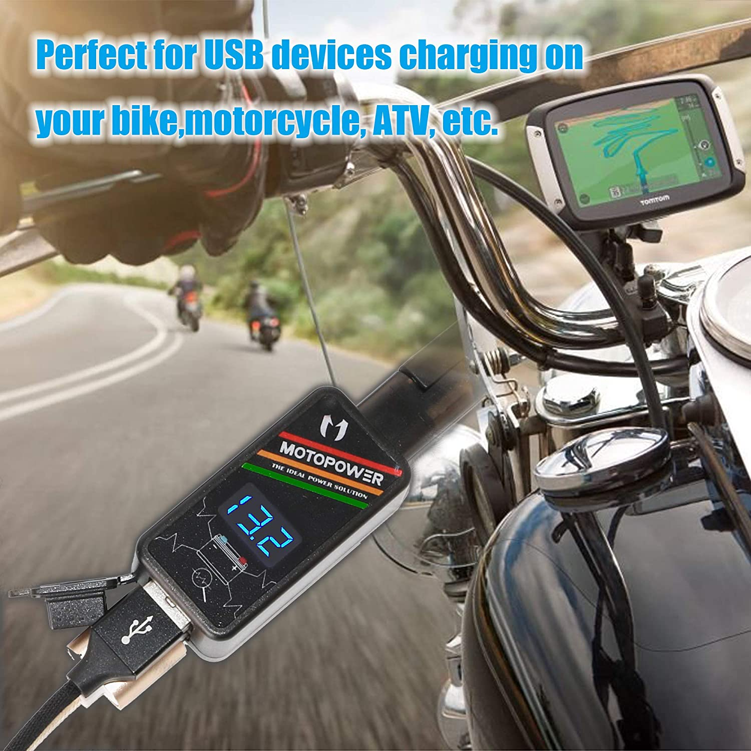 MOTOPOWER MP0620 4.2Amp Motorcycle Dual USB Charger SAE to USB Adapter Phone Tablet GPS Charger LED Voltmeter