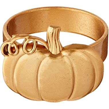 Kate Aspen Pumpkin Napkin Ring (Set of 4), Gold