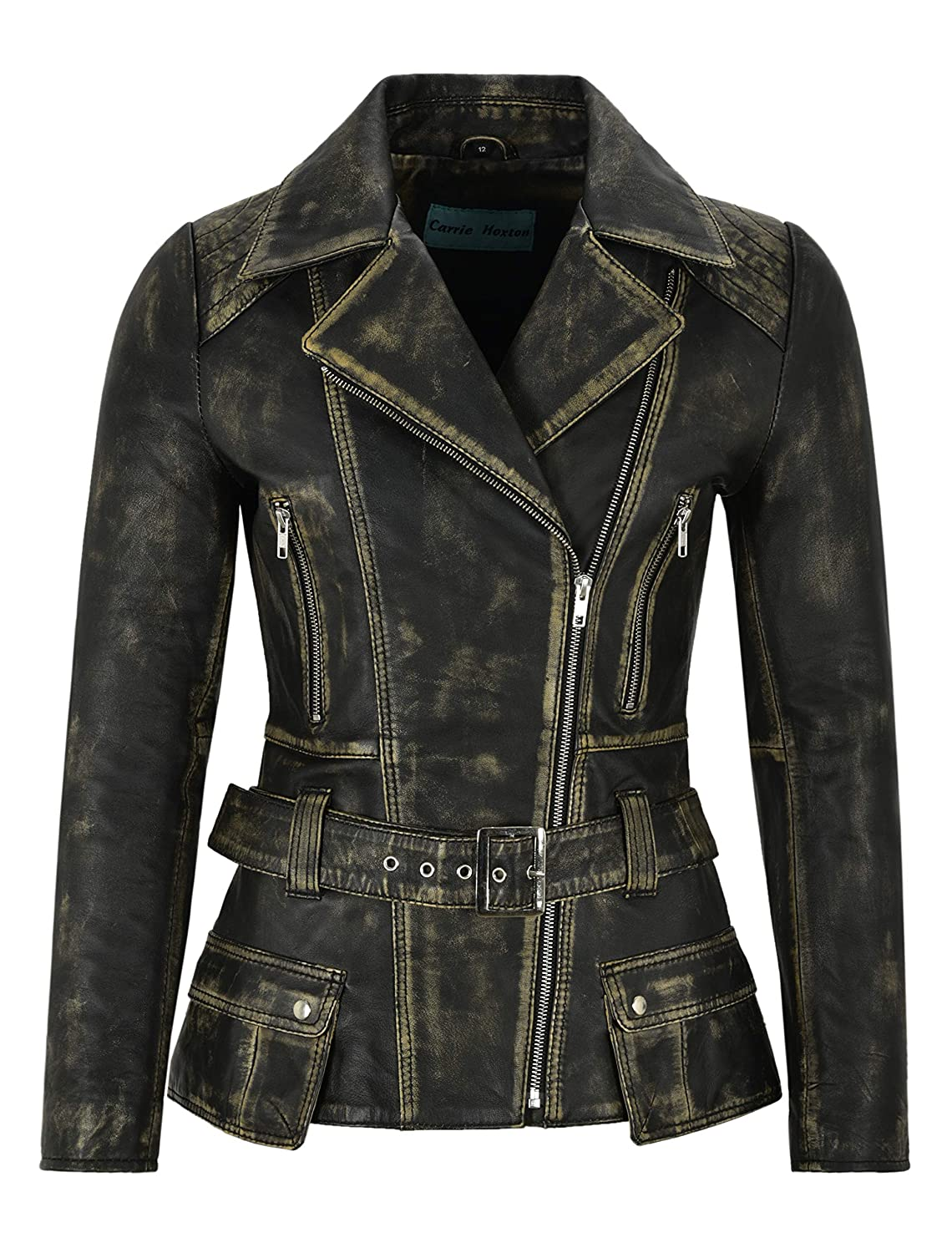 cc5d9a0e2 Carrie CH Hoxton Trench Ladies Fashion Leather Jacket Black Rust ...