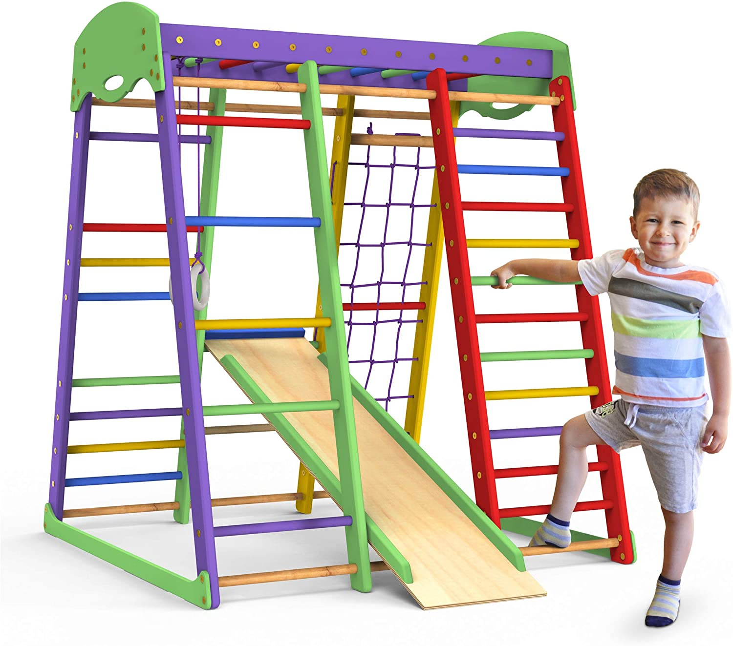 Toddler Climber Monkey Bars Wedanta Indoor Playground Gymnastics Rings Backyard Playsets for Kids SportWood Playset for Toddlers Jungle Gym