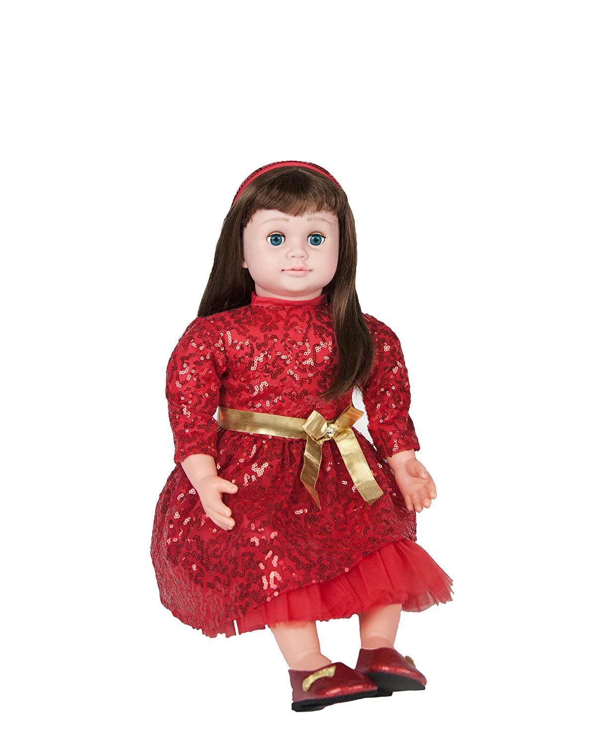Ask Amy 22 Talking Interactive Singing Storytelling Smart Educational Doll Brunette Red Sparkles Dress World of Magic Toys
