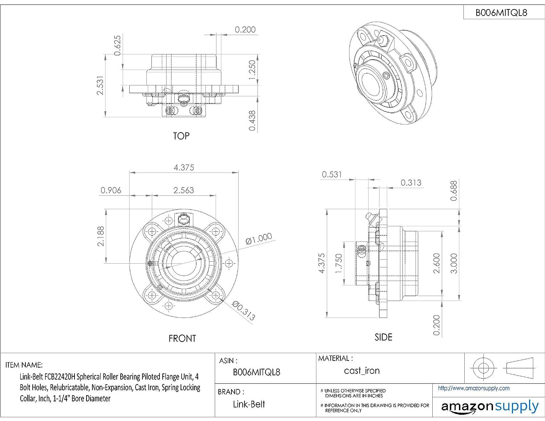 Amazon.com: link-belt fcb22420h esférica Rodamiento de ...