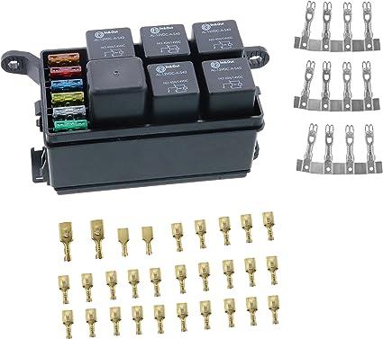 Iztor - Caja de fusibles universal con 6 fusibles y terminales de pala y fusible (5 unidades, 4 pines, 12 V, 40 A, relés para remolque de camión de coche y barco): Amazon.es: Coche y moto