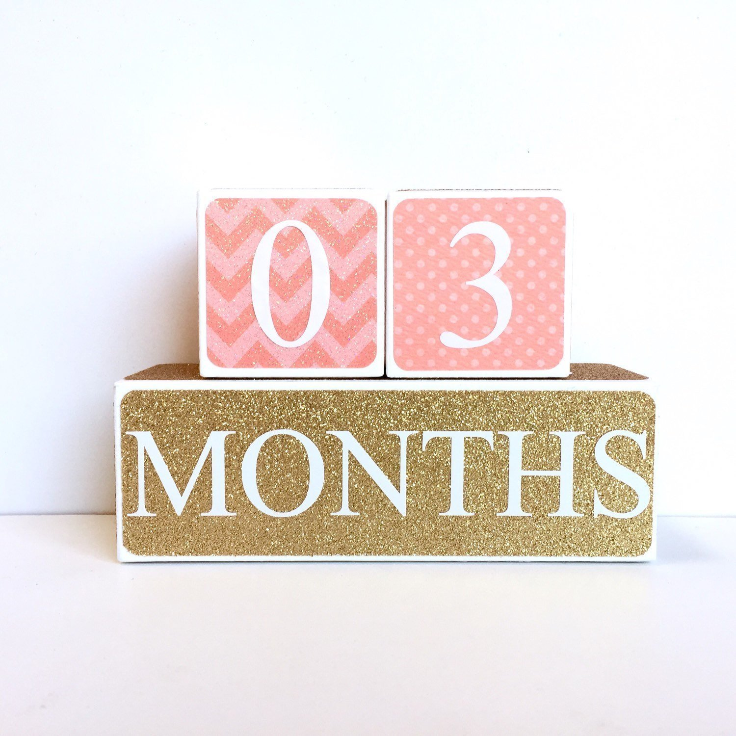 Pink and Gold Nursery Decor, Baby Photography Props Best Baby Age Photo Props Wooden Age Blocks 3 Color Styles Sweet Sage Studio Wood Baby Milestone Blocks
