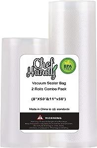 CHEFHANDY Vacuum sealer rolls, Vacuum Sealer Bags for Food Saver Storage, 2 Rolls Combo Pack 11