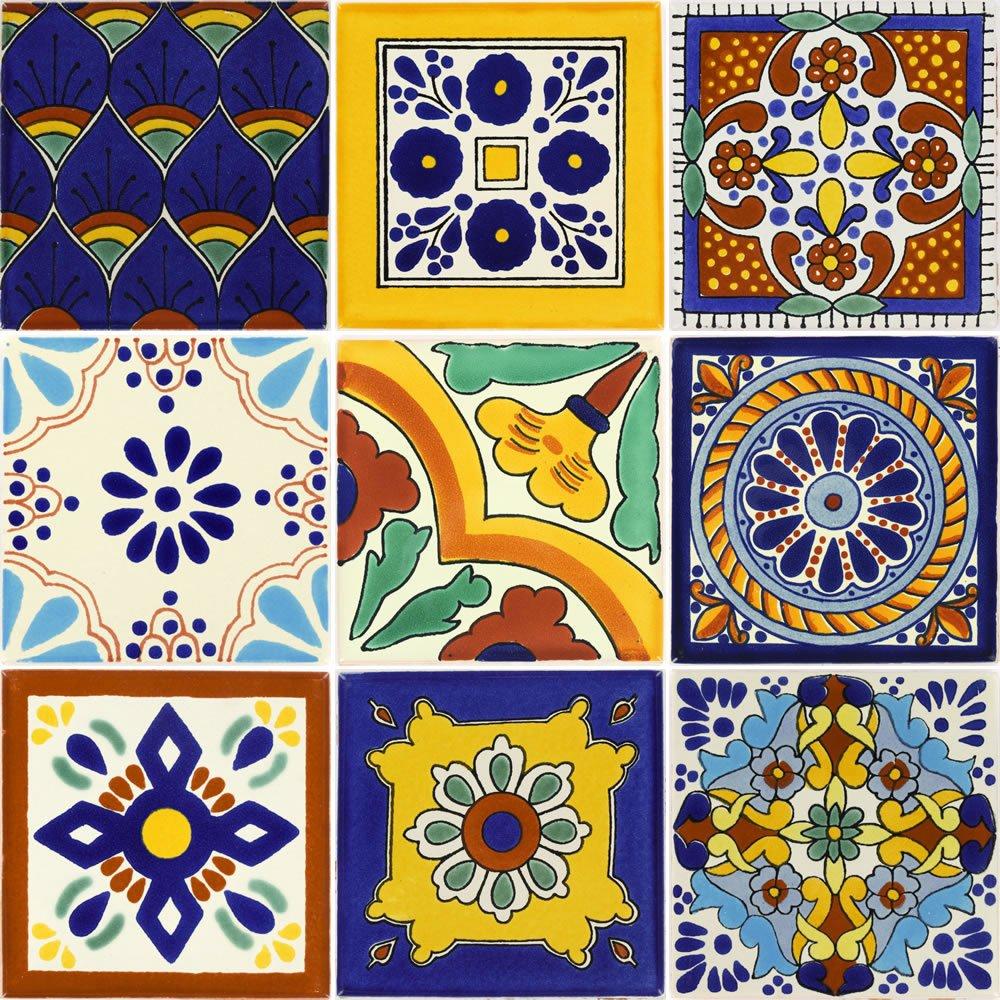 Ceramic Mexican Tiles Talavera 4/¼ x 4/¼ In 9 Nine Tierra y Fuego Tile SET