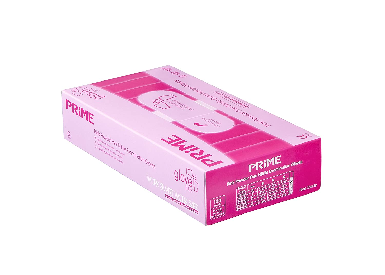 Handschuh Plus Prime Prime puderfrei Nitril Untersuchungshandschuhe 100Handschuhe, groß, Rosa