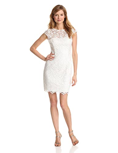 Adrianna Papell Women's Cap-Sleeve Illusion Lace Dress
