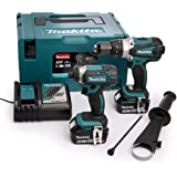 Makita DLX2145TJ Combi Drill and Impact Driver 18 V Kit with 2 x 5.0 Ah Batts and 1 DC18RC Charger