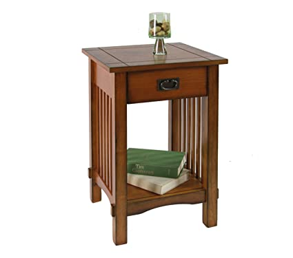 Furniture Of America Liverpool 1 Drawer End Table, Antique Oak