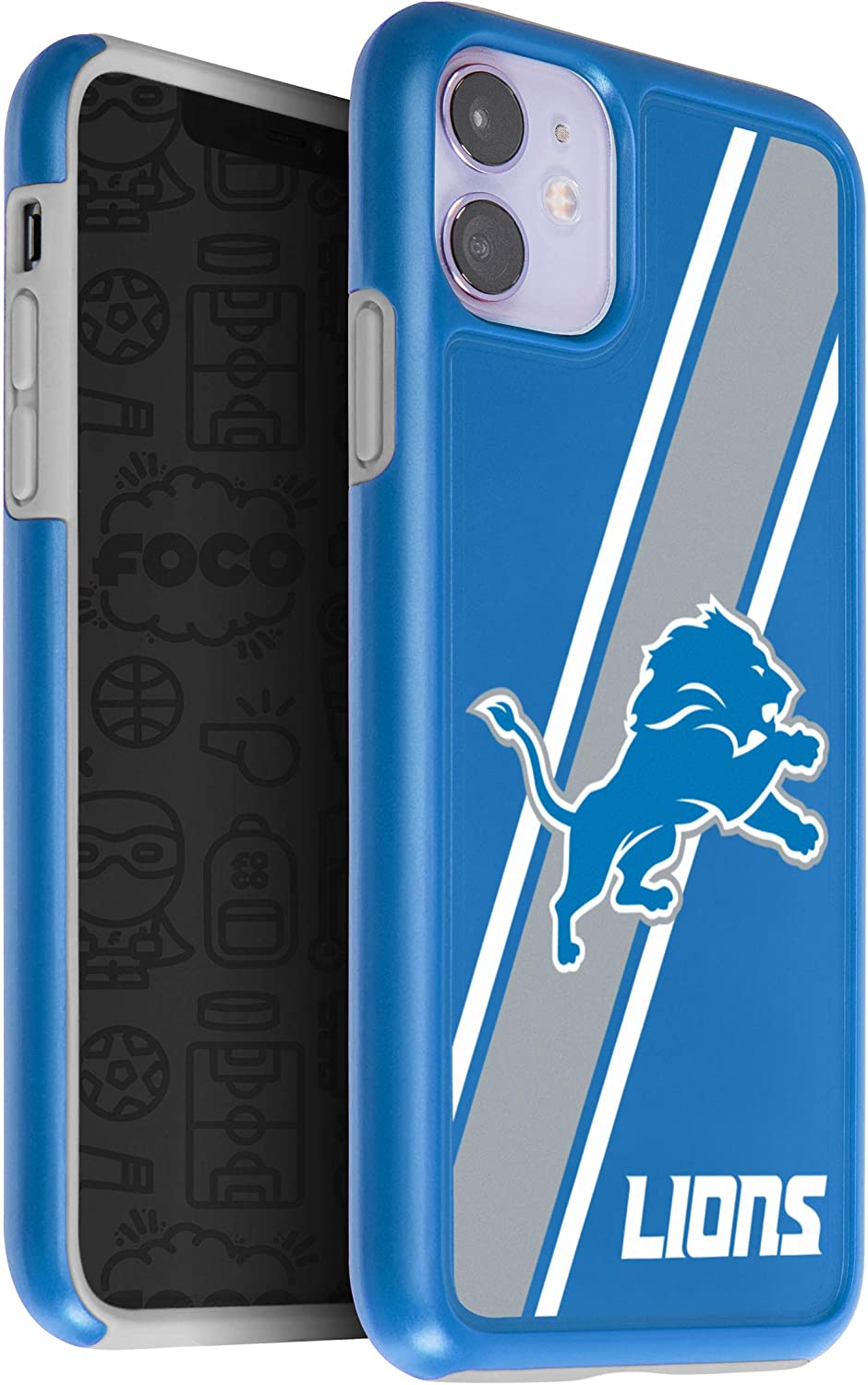Team Color One Size FOCO NFL Detroit Lions Unisex iPhone 11 6.1 Inch/  Screen Only / Dual Layered Impact Licensed Case