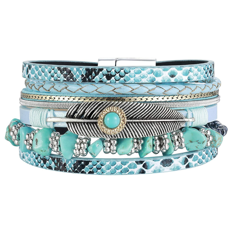 AZORA Womens Leather Cuff Bracelet Multi Strands Feather Wrap Bracelets Turquoise Stone Strand Bangle Jewelry Birthday Gift for Women Teen Girls Boys Prime