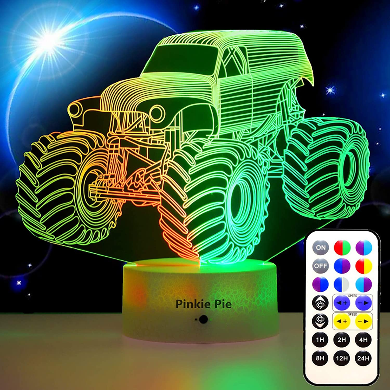 Pinkie Pie Night Light for Kids, Night Lamp Bedroom Soft Lights Lamp with Remote Dimmable 3D Lamp, 14 Colors Monster Truck Decor for 3 4 5 9 10+ Year Old Child Birthday, Easter