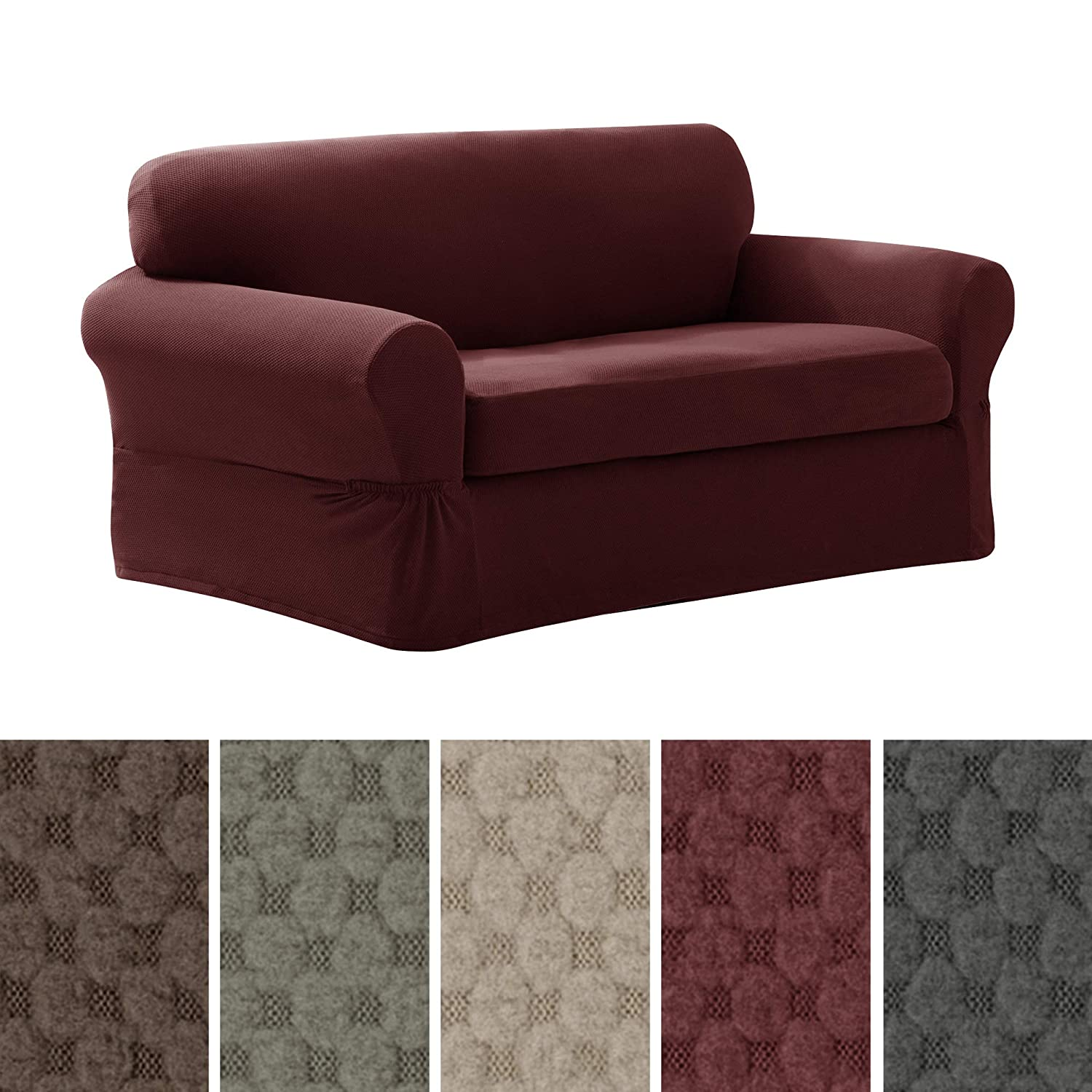 Maytex Pixel Stretch 2-Piece Slipcover Loveseat, Wine 4300512