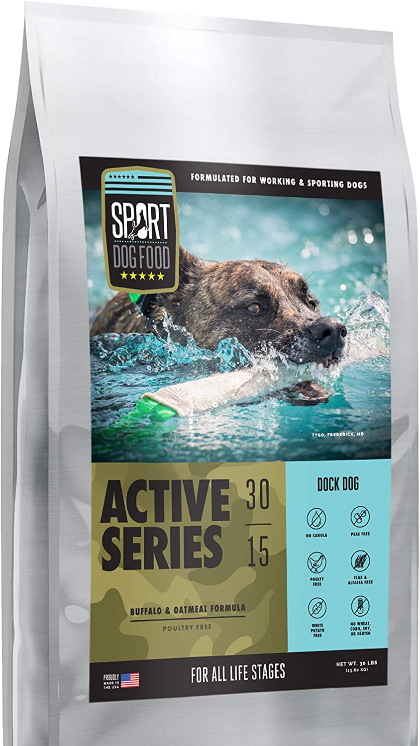 Active Series Dock Dog Buffalo Formula, Peas and Poultry Free Dry Dog Food, 30 lb. bag