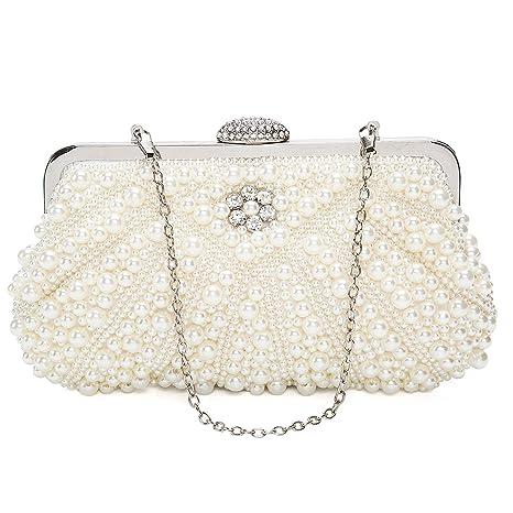 97b9443ae9 BAIGIO Pochette Elegante Bianca Perle, Clutch Donna Cerimonia Borsetta da  Sera Borsa a Tracolla Catena