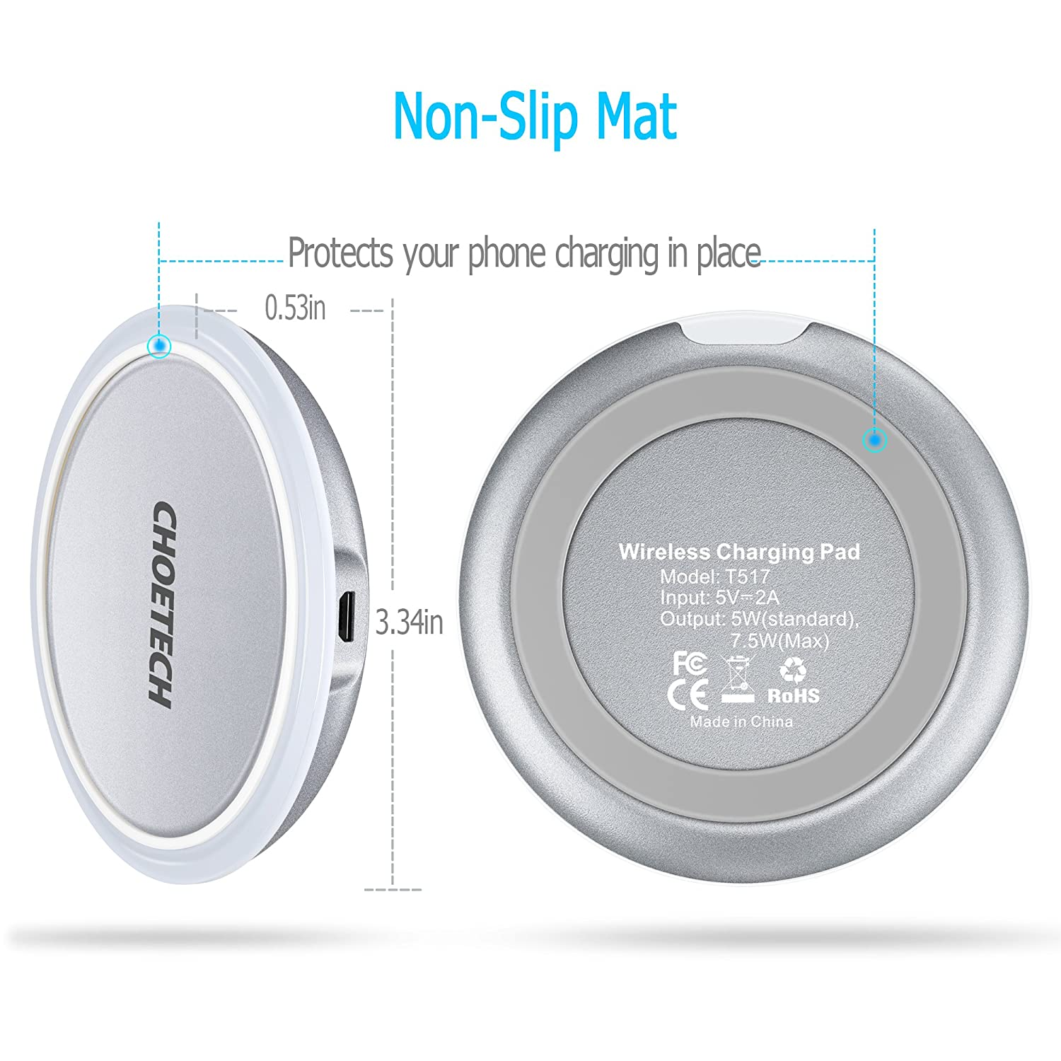 Wireless Charger CHOETECH Qi Wireless Charging Pad with Smart Lighting Sensor Compatible with iPhone XR,XS,XS Max,X,8,8 Plus,Samsung Galaxy S9 S9 Plus Note 8,S8,S8 Plus Other Qi-Enabled Devices