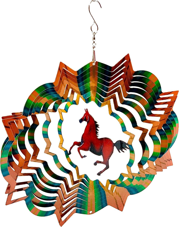 Dundee Deco W2206 Wind Spinner en Caja de Regalo – 3D Colgante Interior Patio jardín decoración – Mandala – Caballo – Rojo, Naranja, Verde – 12 Pulgadas – Idea Hombres Mujeres, Souvenir, Presente: Amazon.es: Jardín