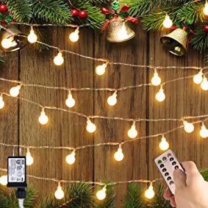 33 FT 100 LED Globe Ball String Lights, Fairy String Lights Plug in with Remote, Decor for Indoor Outdoor Party Wedding Christmas Tree Garden, Warm White