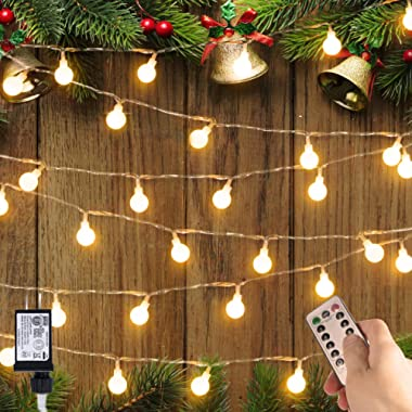 Minetom UL Listed 33 feet Crystal Ball 100 LED Globe String Lights Remote & Timer, Warm White