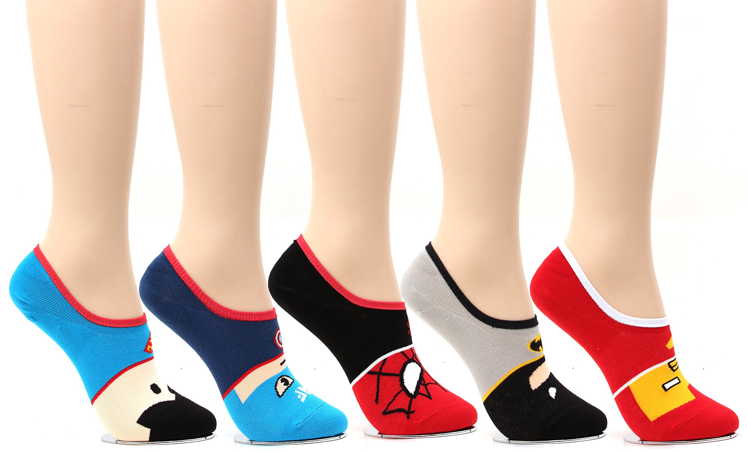 5 Pairs Marvel Original Avengers Low cut Crew Ankle No Show Socks (5pairs-No Show Socks) by WOWFOOT (Image #3)