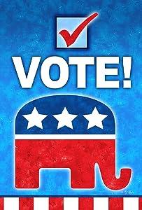 Toland Home Garden Vote Republican 12.5 x 18 Inch Decorative Colorful Political Elephant Party Voting Garden Flag