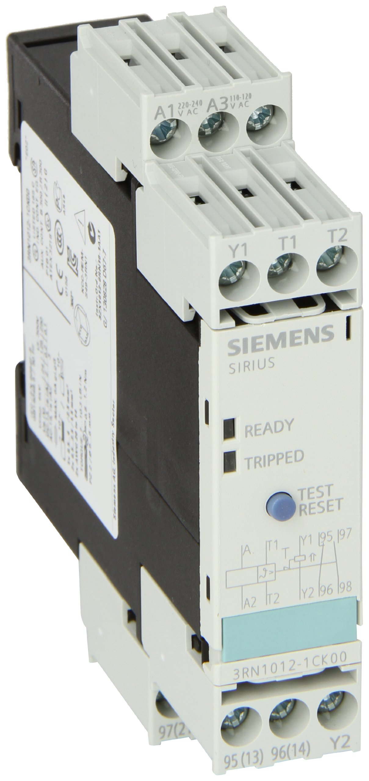 Siemens 3RN1012-1CK00 Thermistor Motor Protection Relay, Screw Terminal, Standard Evaluation Units, 2 LEDs, 22.5mm Width, Manual/Auto/Remote Reset, 1 N + 1 NC Contacts, 110/230VAC Control Supply Voltage