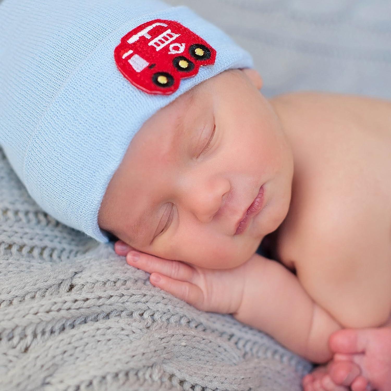Amazon.com  Melondipty Solid Blue Baby Hat with Firetruck Felt Patch Newborn  Hospital Hat  Clothing 32989a30e55b