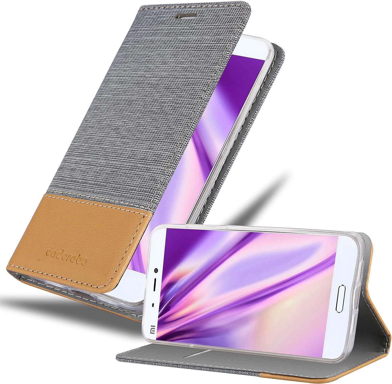 Cadorabo Funda Libro para Xiaomi Mi 5 en Gris Claro MARRÓN – Cubierta Proteccíon con Cierre Magnético, Tarjetero y Función de Suporte – Etui Case Cover Carcasa