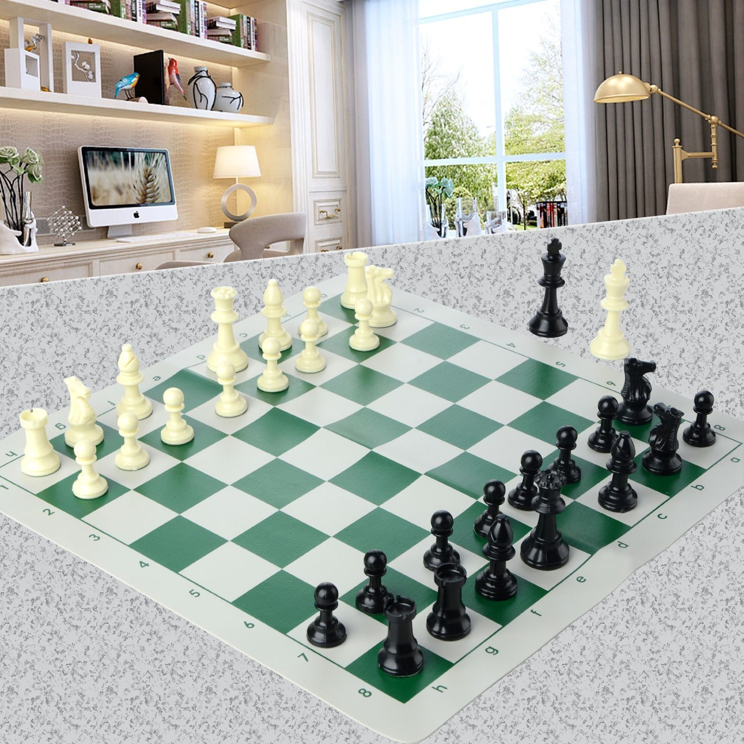 Chess Set,ASDOMO Chess Board Game With Natural Chess Pieces Plastic Weighted Full Complete Chess Set