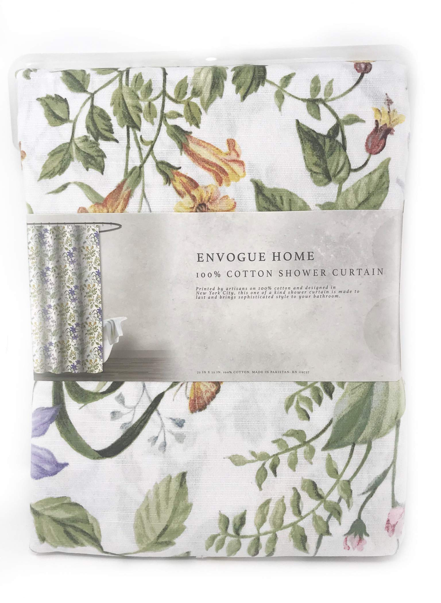 ENVOGUE French Country Provincial Wildflower Print Cotton Shower Curtain Modern Rustic Soft Vintage Floral Bird Butterly Botanical Nature Muted Color (Summer Meadow)