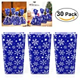 NICEXMAS 30Pcs Christmas Gift Bags Snowflake Cellophane Goody Bags with Ribbon Tie