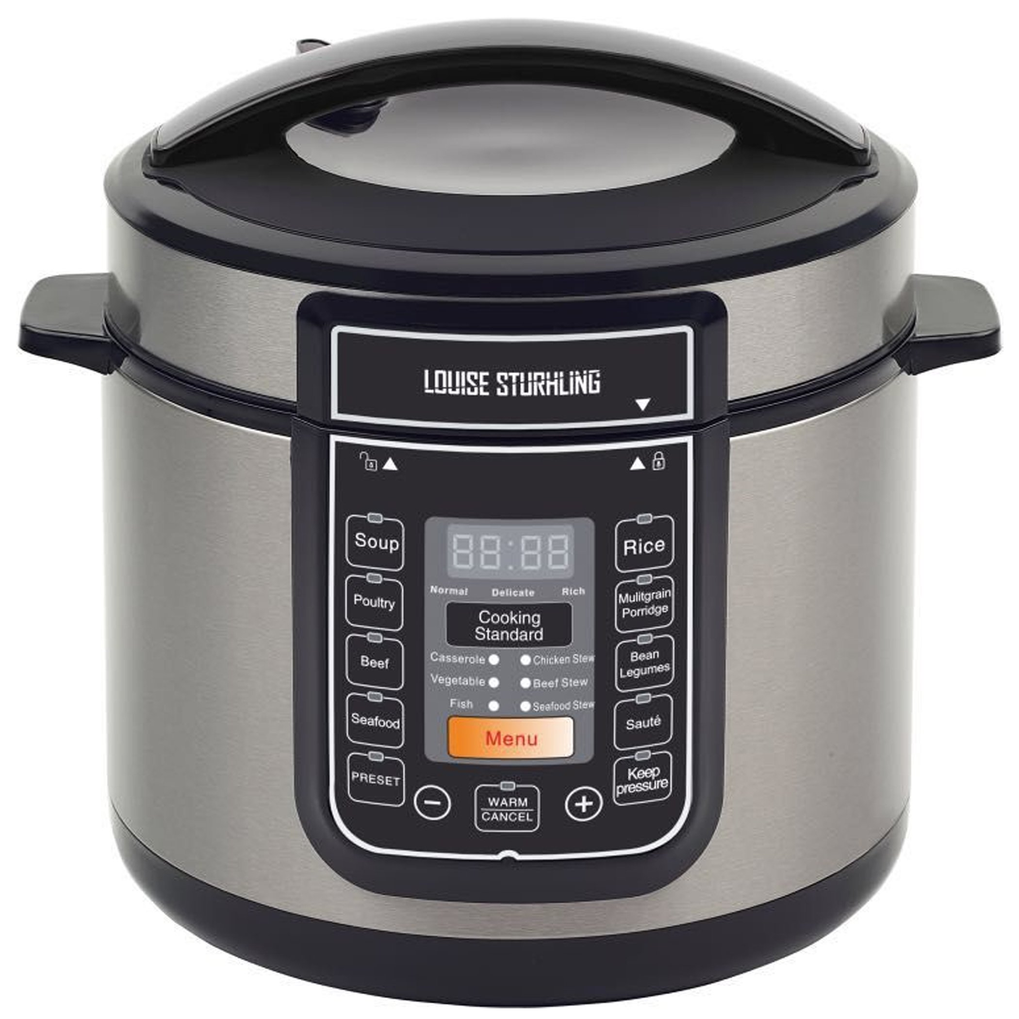 LOUISE STURHLING 10-in-1 Intelligent 6 Qt Pressure Cooker, 14 Programmed Menus, 7 Safety Features, High-Grade Stainless Steel Body, Durable Double Coated Non-Stick Pot, Plus FREE Cookbook