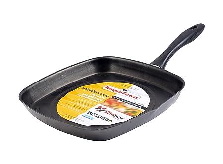 Magefesa Asador Cuadrado para cocina, sarten diametro 28 cm, color efecto espejo, válido inducción.