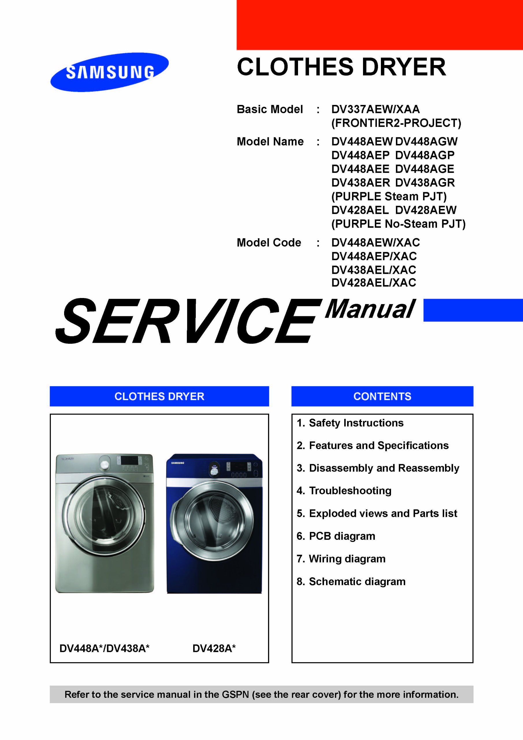 Samsung Dv448aep Xaa Service Manual Books Dryer Wiring Diagram