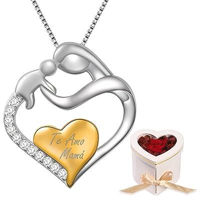 a1305e9bc67e Dawanza- Regalos Día de la Madre Collar Mujer de Plata de Ley 925-Colgante