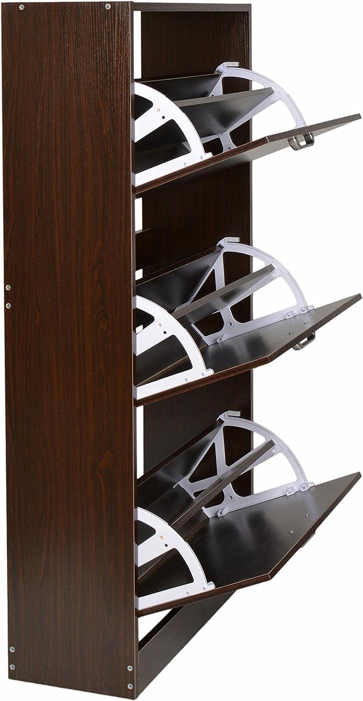 ts-ideen /Étag/ère Armoire Meuble /à Chaussures de Rangement 3 Compartiments 121 x 64 cm Bois Couleur Noix