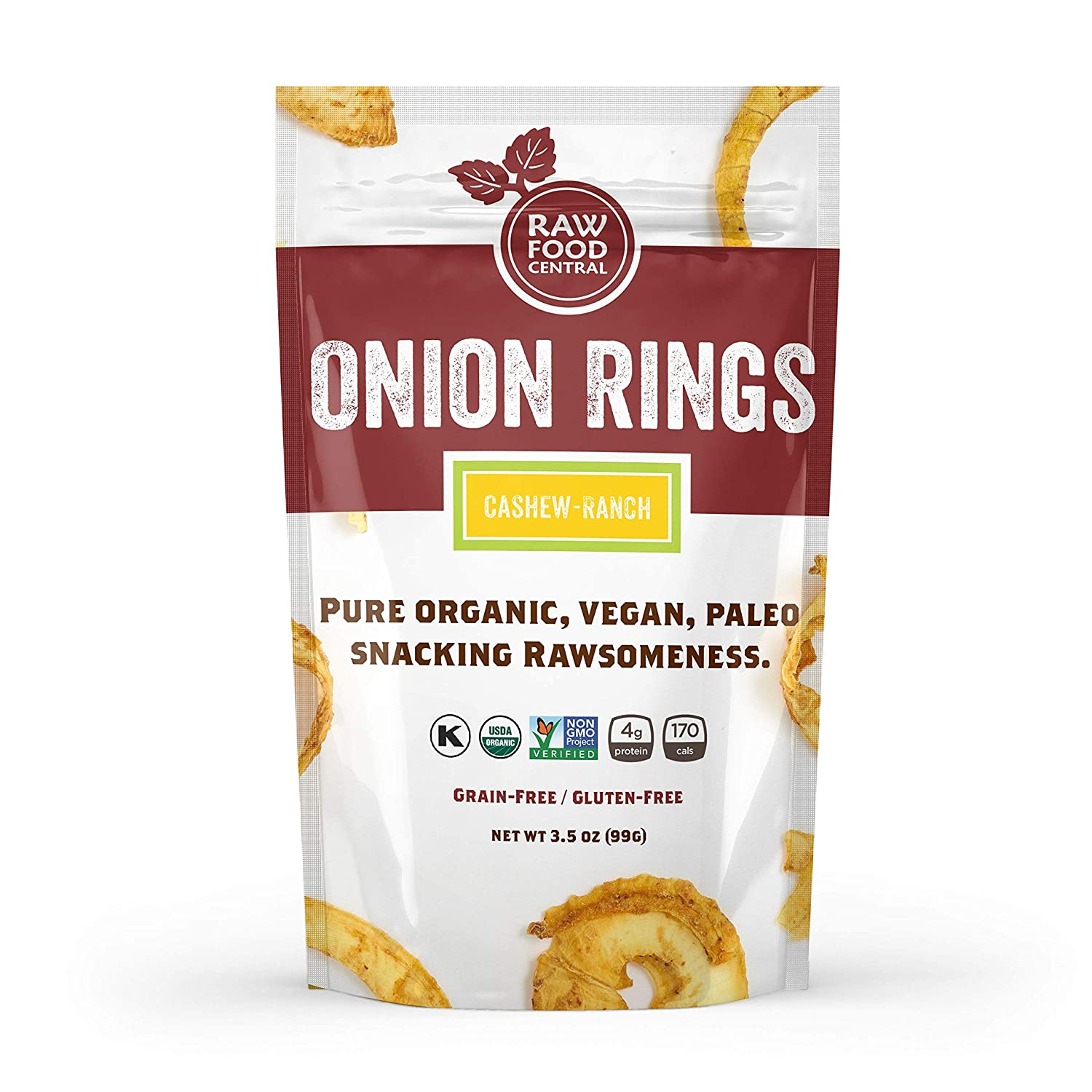 Raw Food Central Curt's Classic Onion Rings 100% Organic NON GMO Gluten Free Vegan (1.5 oz. ) 43 g.