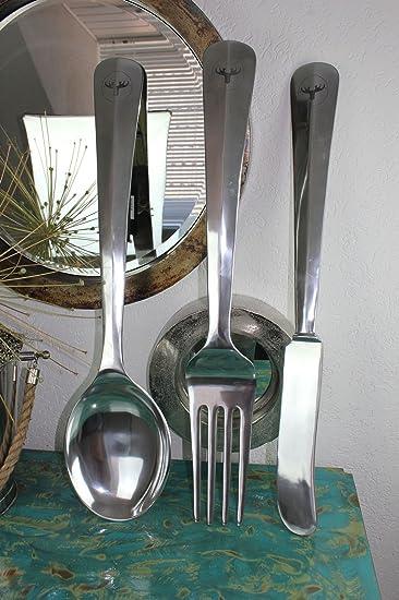 80cm Wanddeko 3er Set Xxl Alu Besteck Messer Gabel Loffel Kuche Deko