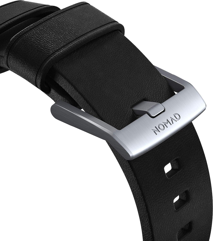 Nomad Modern Strap Active cinturino in pelle impermeabile in vera pelle compatibile con Apple Watch Nero/Argento