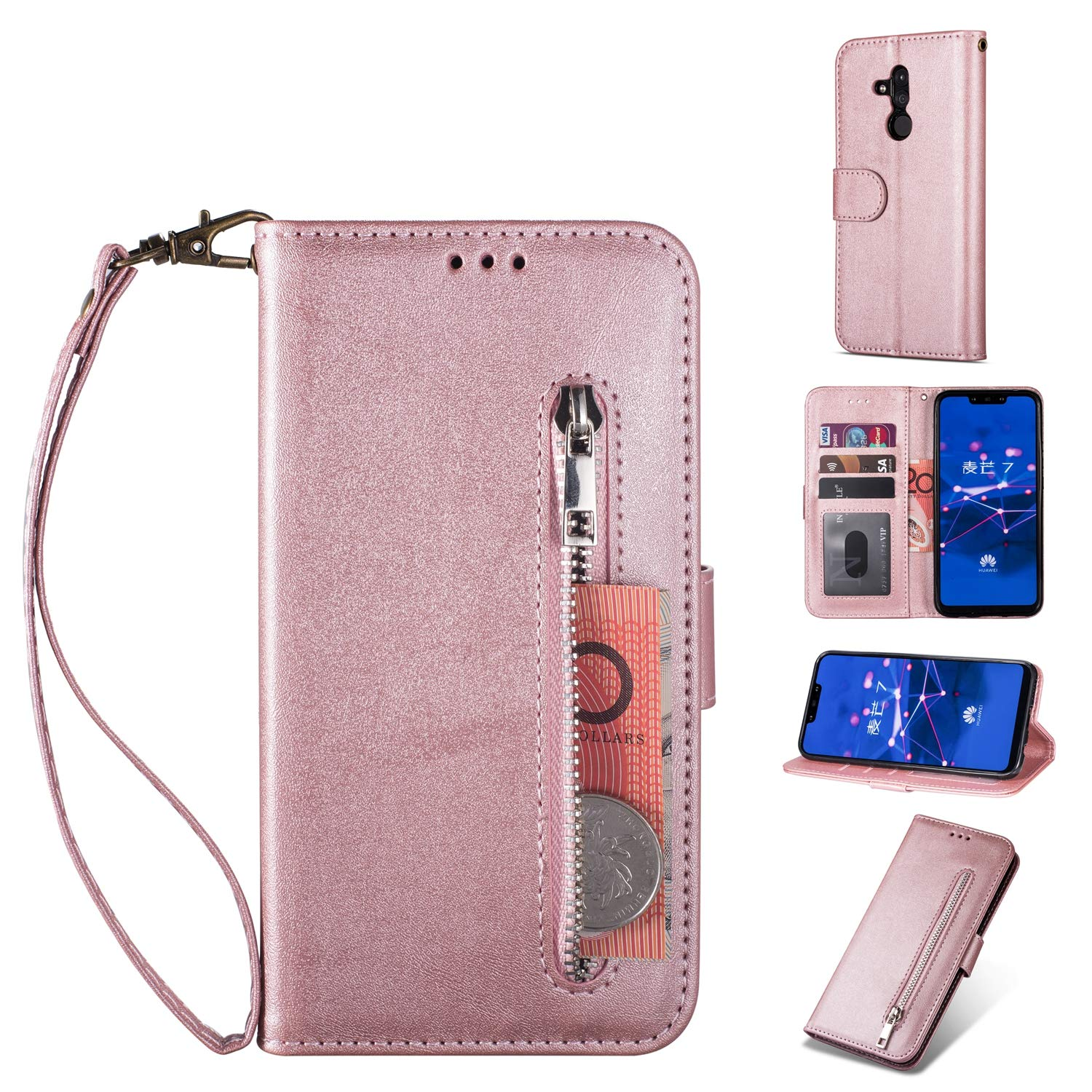 Zipper Wallet Case with Black Dual-use Pen for Huawei Mate 20 Lite,Aoucase Money Coin Pocket Card Holder Shock Resistant Strap Purse PU Leather Case for Huawei Mate 20 Lite - Rose Gold by Aoucase