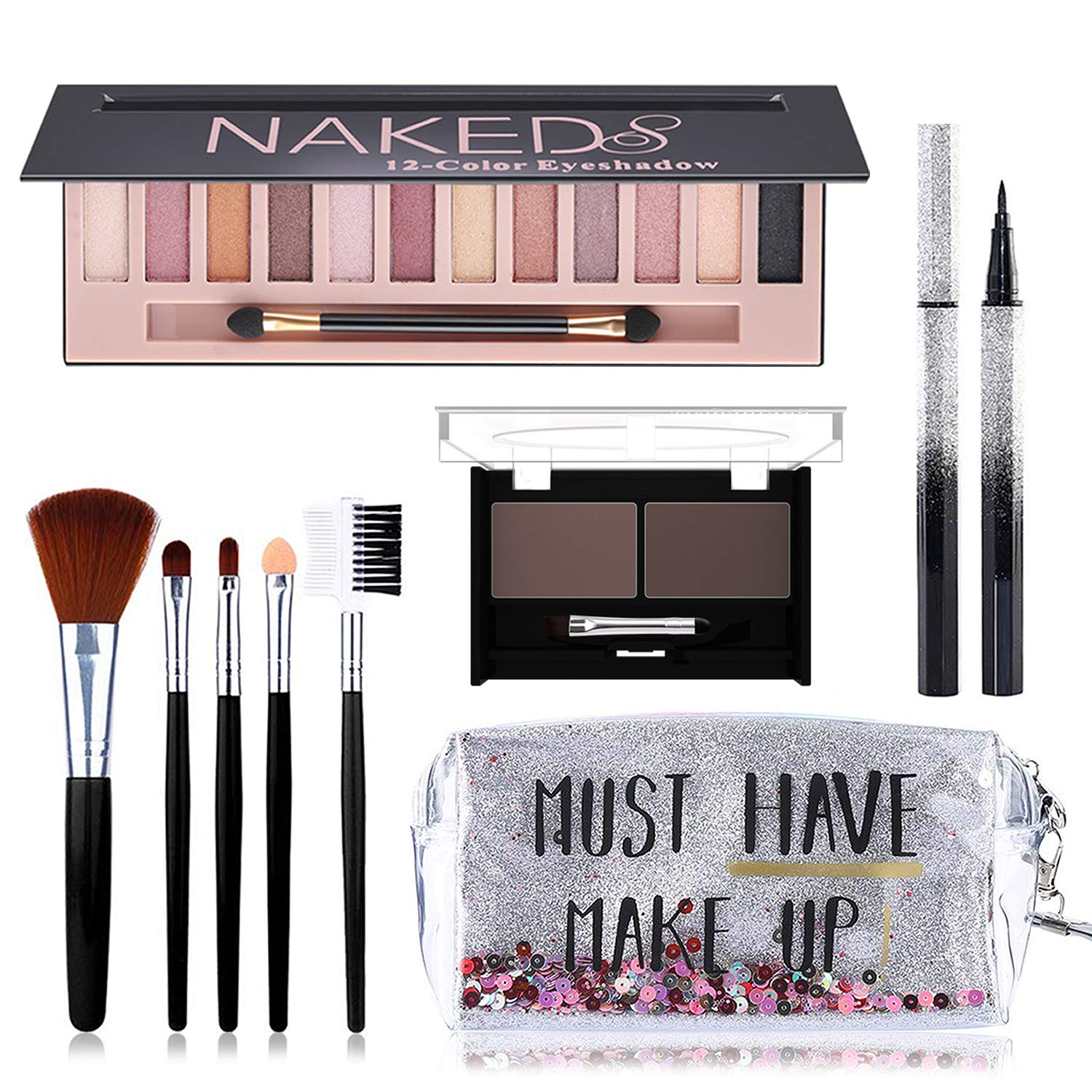 All in One Makeup Kit, Includes 12 Colors Naked Eyeshadow Palette, 5Pcs Makeup Brushes, Waterproof Eyeliner Pencils, Eyebrow Powder Duo and Quicksand Cosmetic Bag, Gift Set for Women, Girls & Teens