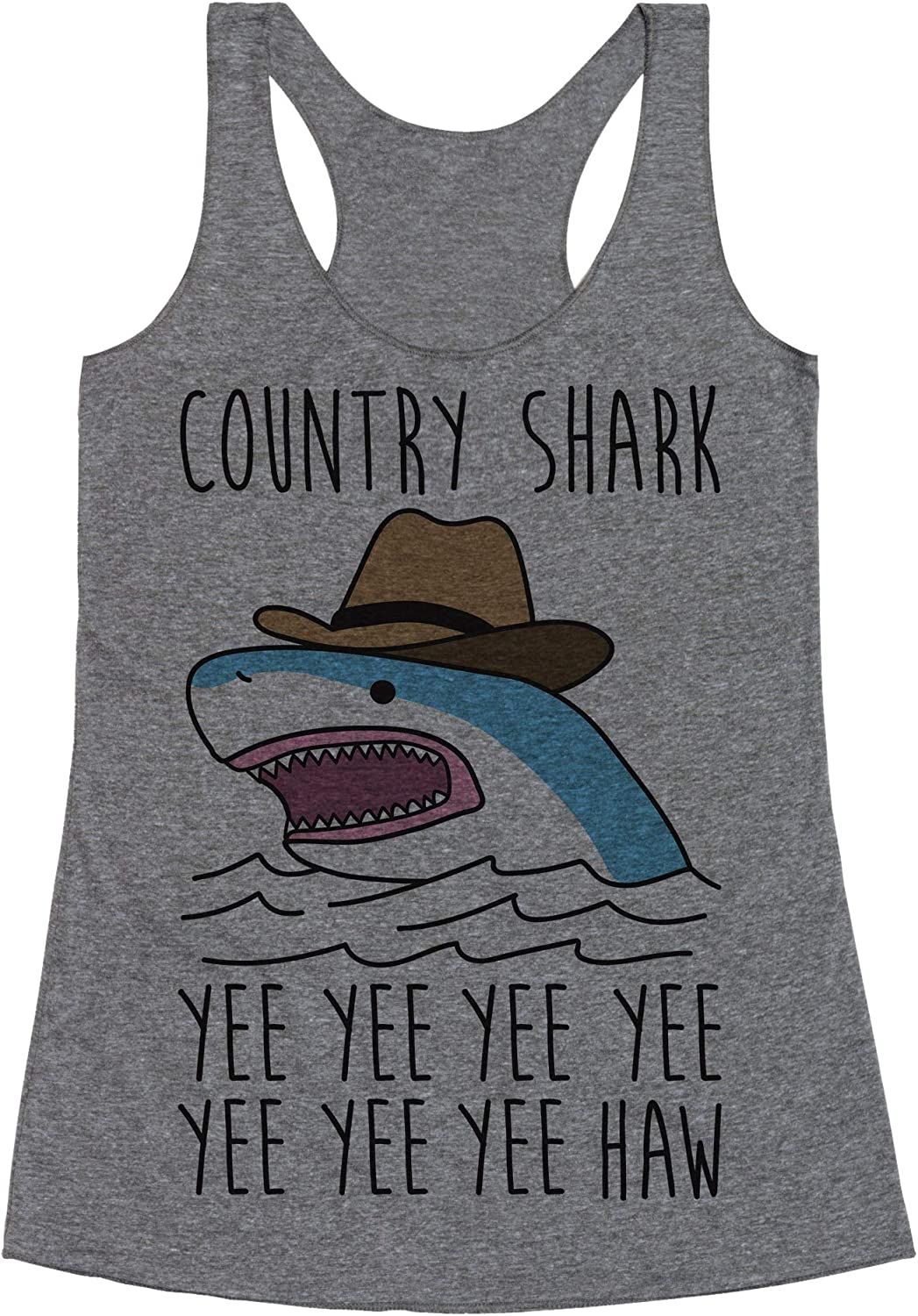 LookHUMAN Country Shark Yee Haw Heathered Gray Women's Racerback Tank