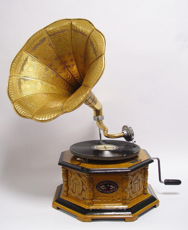 Claro Marrón achteckiges Gramófono con bronzefarbenem Amplificador ...