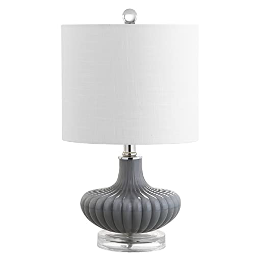Jonathan Y 18 Glass and Lucite LED Table Lamp, Gray, Modern, Contemporary, Bulb Included