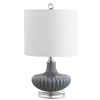 JONATHAN Y JYL1032A Table Lamp, 10  x 18  x 10 , Gray/Clear with White Shade