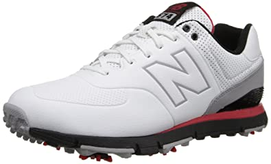 New Balance Men's NBG574 Golf Shoe,WhiteRed,9.5