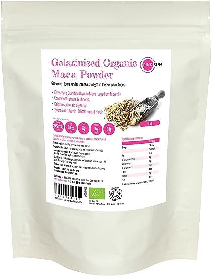 PINK SUN Maca Orgánica Gelatinizada en Polvo 1kg - Ecologica Organic Gelatinised Maca Powder 1000g