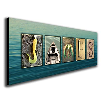 Personalized Fishing Name Alphabet Art   Perfect For The Man Cave, Office,  Or Boyu0027s